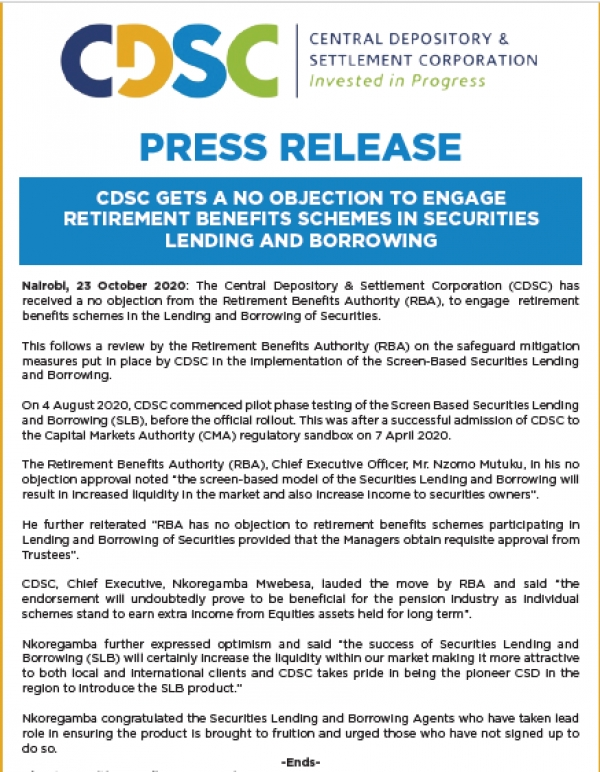 PRESS RELEASE: CDSC RECEIVES A NO OBJECTION FROM RBA TO ENGAGE RETIREMENT BENEFITS SCHEMES ON SLB